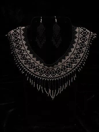 1920s diamond black beaded necklace and earrings