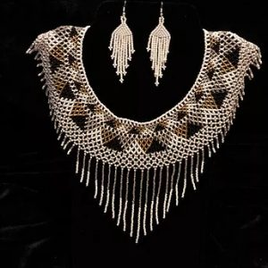 Blanquis beaded necklace and earrings