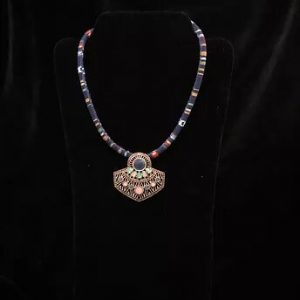 Blue rock beaded necklace