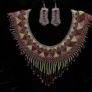 Earthly beaded necklace and earrings