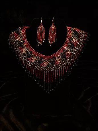 Golden red heart beaded necklace and earrings