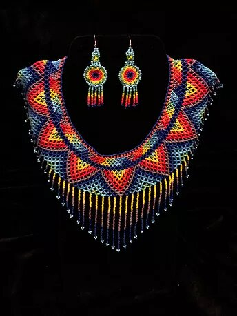 Multi-color beaded necklace and earrings