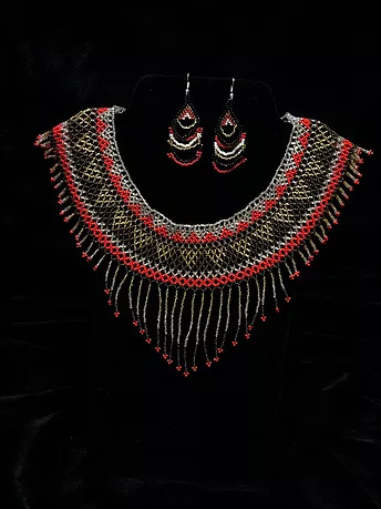 Red land beaded necklace and earrings