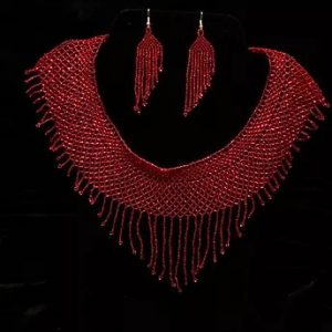Rojo Quetzal beaded necklace and earrings