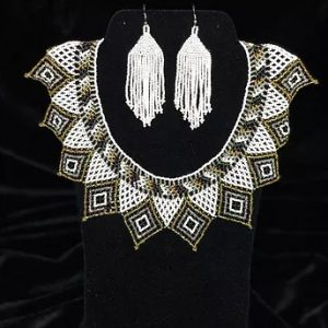 White Crown beaded necklace and earrings